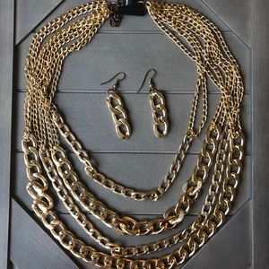 Gold layered necklace with earrings